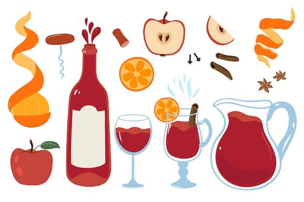 Zestaw do wina z butelką, szkłem, grzanym winem, owocami i przyprawami na białym tle