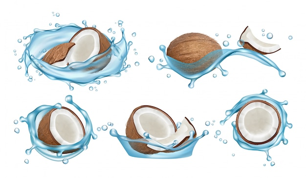 Zestaw do wody kokosowej. realistyczne kokosy i rozpryski wody na białym tle