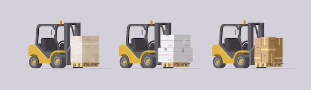 Zestaw do wózków widłowych. wózki widłowe z ładunkiem na jasnym tle. kolekcja