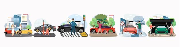 Zestaw do wypadku drogowego, płaski. wypadek samochodowy, przebita opona, myjnia samochodowa i serwis naprawczy, wyciąganie pojazdu ze śniegu. postacie męskie, żeńskie, kierowcy, policjanci, technicy, mechanicy