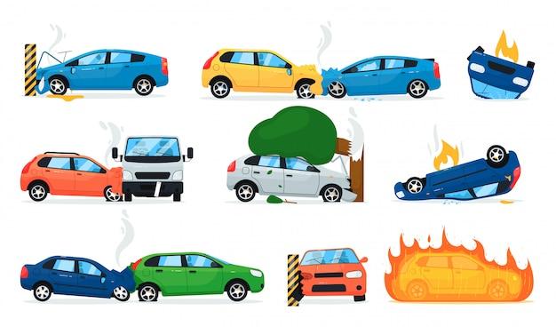 Zestaw do wypadku samochodowego. kolekcja wypadków samochodowych kreskówka na białym tle. wypadek drogowy podczas transportu, kolizja samochodów, pożar pojazdu. ilustracja wektorowa bezpieczeństwa transportu