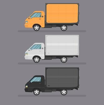 Zestaw do zbierania ciężarówek. płaski styl. widok z boku, profil.