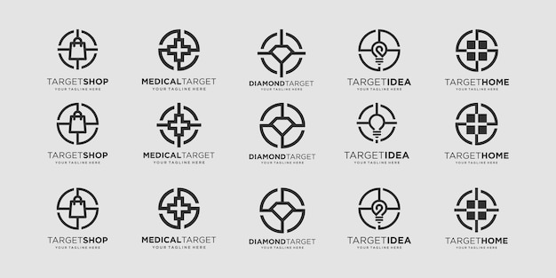 Zestaw docelowych wzorów logo szablon ilustracji torba plus diamentowa żarówka