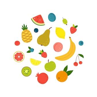 Zestaw dojrzałych i soczystych letnich owoców i jagód ręcznie rysowane w stylu kreskówki