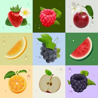 Zestaw dojrzałych owoców: truskawek, malin, wiśni, melona, arbuza, jabłka, pomarańczy, winogron, jeżyn