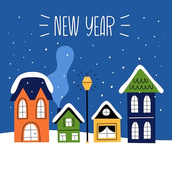 Zestaw domków bożonarodzeniowych w stylu ręcznie rysowanym. minimalizm, prosta ilustracja.