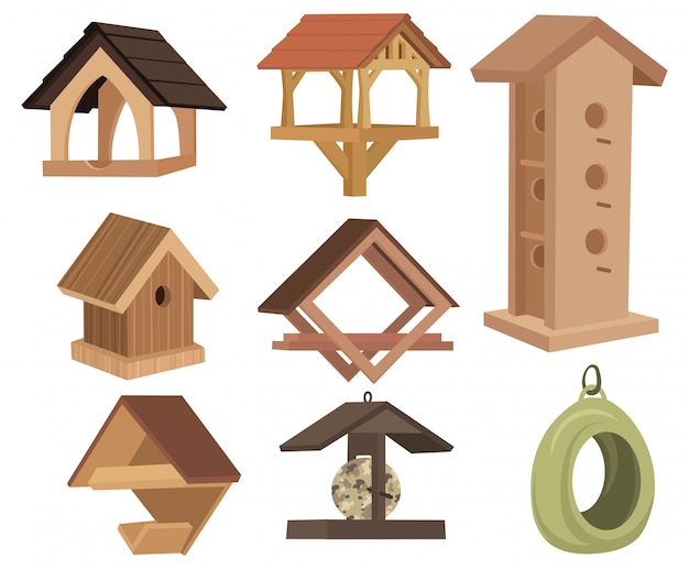 Zestaw domków dla ptaków. zbiór różnych dekoracyjnych drewnianych wiosennych domów ptaków.