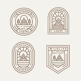 Zestaw domków i kabin minimalistyczna linia sztuki logo szablon wektor ilustracja projektu