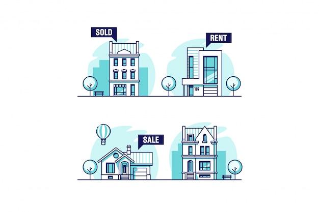 Zestaw domów miejskich i podmiejskich. pojęcie nieruchomości. ilustracja.