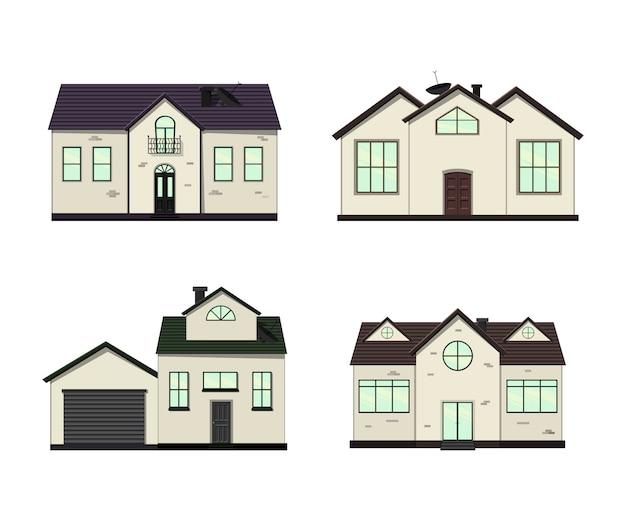 Zestaw domów na białym tle dla budowy i projektowania. styl kreskówkowy. ilustracja.