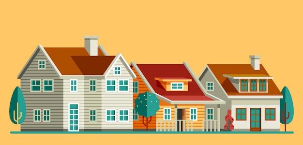 Zestaw domów w płaski styl ilustracji wektorowych
