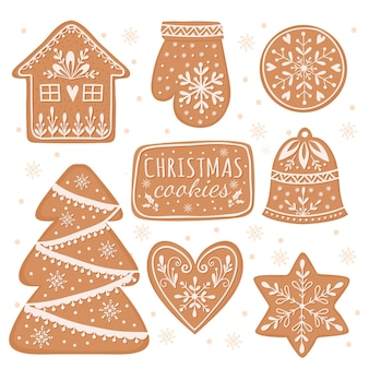 Zestaw domowych pierników elementy świąteczne ilustracja kreskówka