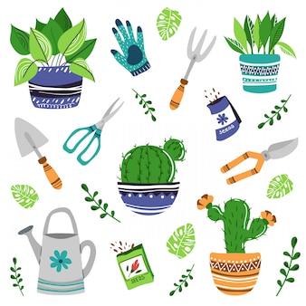 Zestaw domowych roślin lub kwiatów