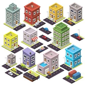 Zestaw domu i drogi z samochodami izometrycznymi. ilustracja wektorowa