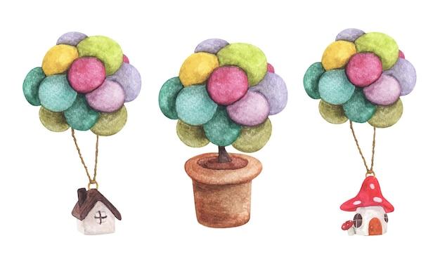 Zestaw domu wiszącego z kolorowym balonem i drzewem w doniczce akwarela ilustracje koncesja biznesowa