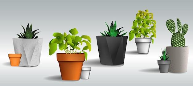 Zestaw doniczek o różnych kształtach pustych doniczek i doniczek z kwiatami i roślinami