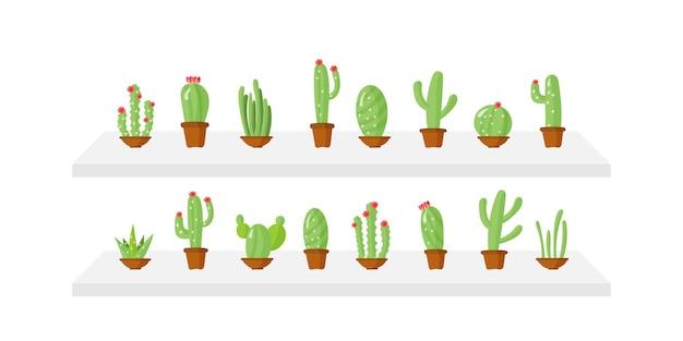 Zestaw doniczek z zielonymi roślinami. kaktus w doniczkach w stylu cartoon