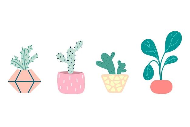 Zestaw doniczkowych roślin domowych. kaktusy, sukulenty zestaw ozdobnych kwiatów. kolorowe doniczki na białym tle. płaska ilustracja