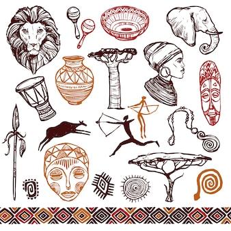 Zestaw doodle afryki
