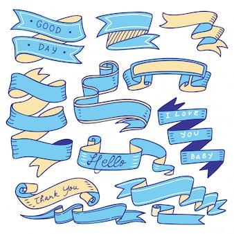 Zestaw doodle baner na białym tle