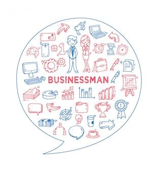 Zestaw doodle biznesu