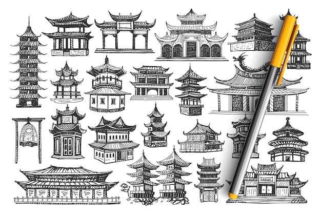 Zestaw doodle budynków w chinach.