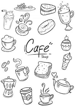 Zestaw doodle cafe ilustracji