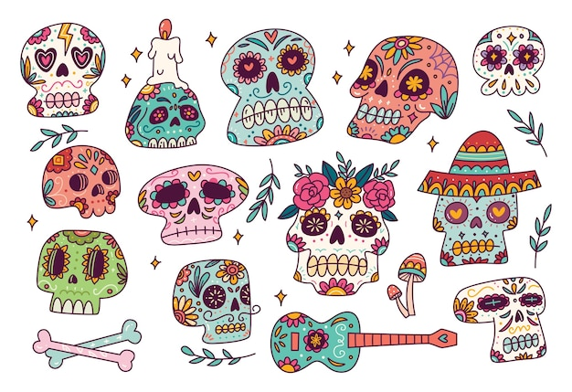 Zestaw doodle cukru czaszki