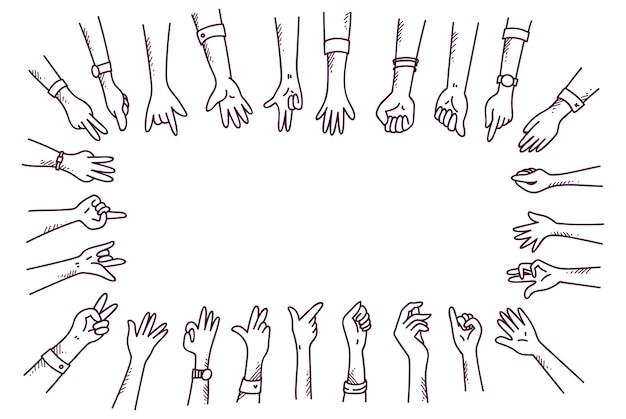 Zestaw doodle dłoni w różnych gestach