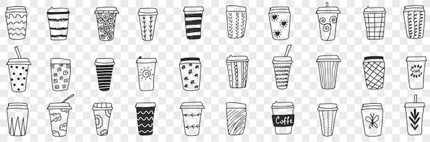 Zestaw doodle ekologicznych okularów wielokrotnego użytku. kolekcja ręcznie rysowane szklanki i termos do gorących i zimnych napojów z różnymi wzorami ekologicznych kubków na przezroczystym tle