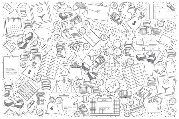 Zestaw doodle finansów