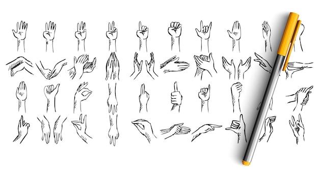 Zestaw doodle gestów dłoni. zbiór szkiców wyciągnąć rękę. pióro ołówek tuszem rysuje ludzkie dłonie przedstawiające znaki ok rock lub demonstrujące palce dłoni.