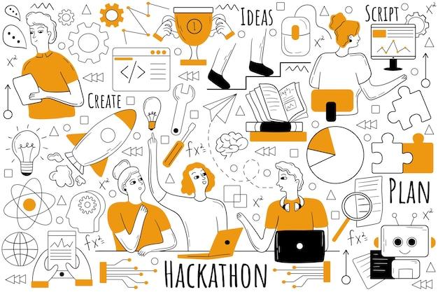 Zestaw doodle hackathonu. zbiór ręcznie rysowanych szkiców gryzmoły.