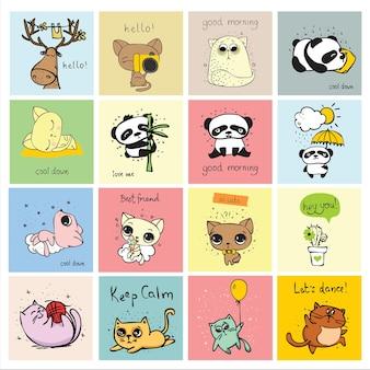 Zestaw doodle hipster zwierząt idealny do projektowania kartek z życzeniami i plakatów dla dzieci