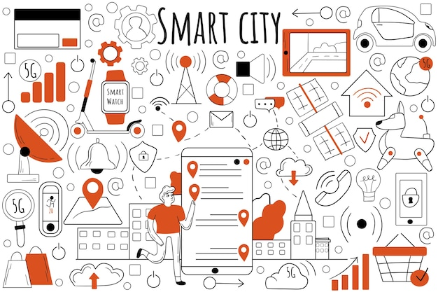 Zestaw doodle inteligentnego miasta. zbiór ręcznie rysowanych szkiców gryzmoły.