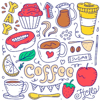 Zestaw doodle kawa element obiektu ręcznie rysowane stylu