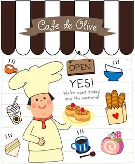 Zestaw Doodle Kawiarni Premium Wektorów