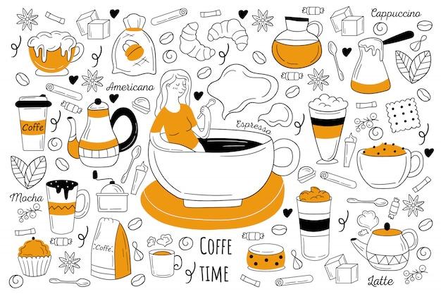 Zestaw doodle kawy czas