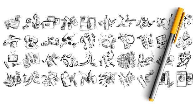 Zestaw doodle kosza na białym tle