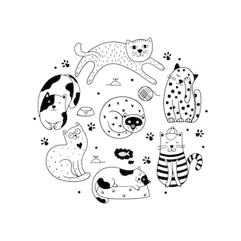 Zestaw doodle kotów