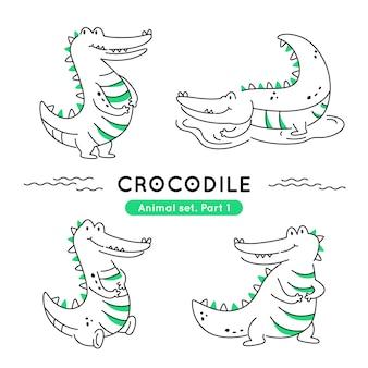 Zestaw doodle krokodyli w różnych pozach na białym tle