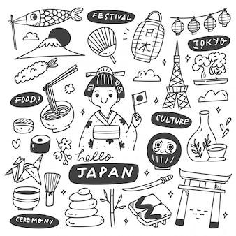Zestaw doodle kultury japonii
