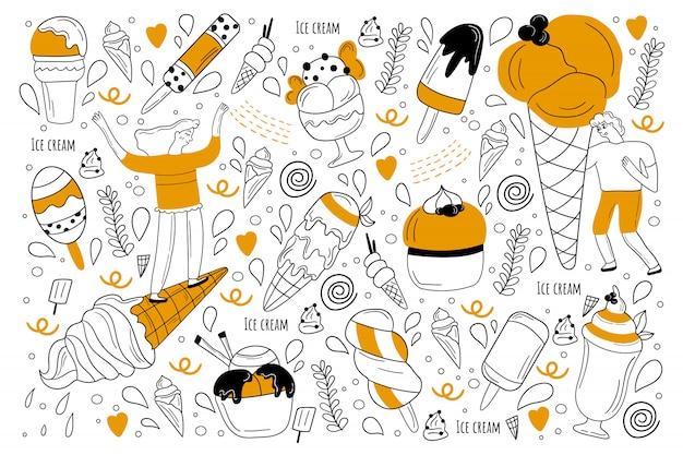 Zestaw doodle lody