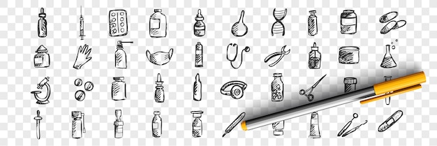 Zestaw doodle medycyny. zbiór ręcznie rysowane szkice szablony wzory pigułki lecznicze strzykawki lekarstwo farmakologiczne na przezroczystym tle. ilustracja opieki zdrowotnej i pomocy medycznej.