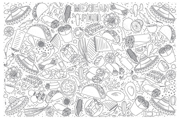 Zestaw doodle meksykańskie jedzenie