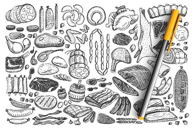 Zestaw doodle mięsa.
