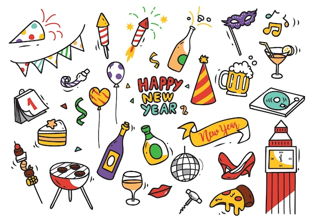 Zestaw doodle nowy rok
