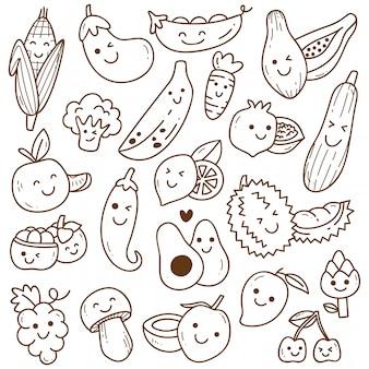Zestaw doodle owoców i warzyw kawaii
