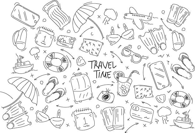 Zestaw doodle podróży wyciągnąć rękę. ilustracja. turystyka i lato szkic z elementami podróżnymi kompas, bikini, okulary przeciwsłoneczne, aparat, koktajl, bilet.