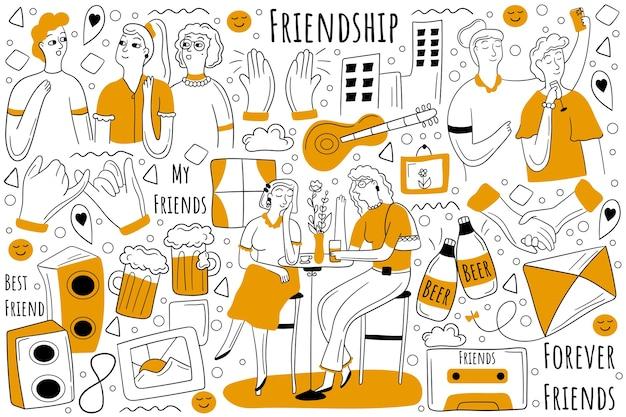 Zestaw doodle przyjaźni. zbiór ręcznie rysowanych szkiców gryzmoły.